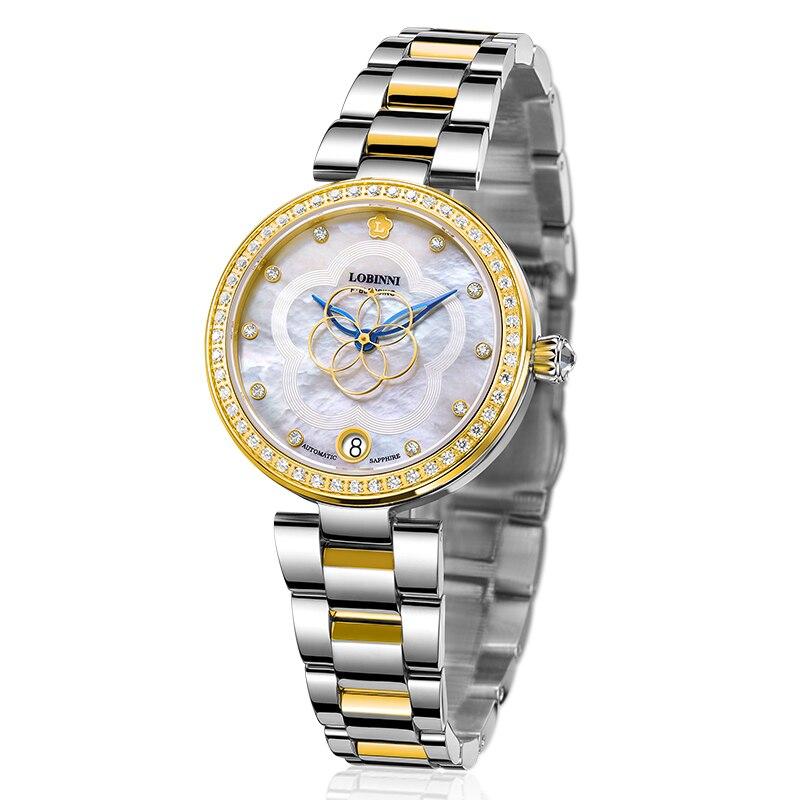 LOBINNI Luxury Brand SwitzerlandWomen Watches Japan MIYOTA Automatic Mechanical Clock Sapphire Diamond Ladies Watch L2008-5