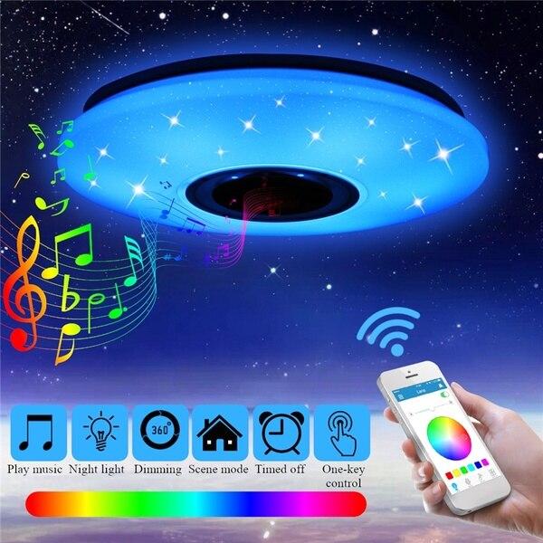 36W Rgb Montaggio A Filo Rotondo Starlight di Musica Ha Condotto La Lampada Della Luce di Soffitto Con Altoparlante Bluetooth, dimmerabile Luce Modificare il Colore del Dispositivo