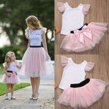 2018 Multitrust Brand Family Matching Women Baby Lovely Cute Pretty Girls Kids Outfits Tops Short Sleeve T-shirt Skirt Tutu