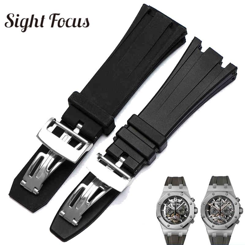 26mm 28mm Silicone Rubber Watchbands for Audemars Piguet Strap for AP Royal Oak offshore Belt Black Replacement Straps Bracelet