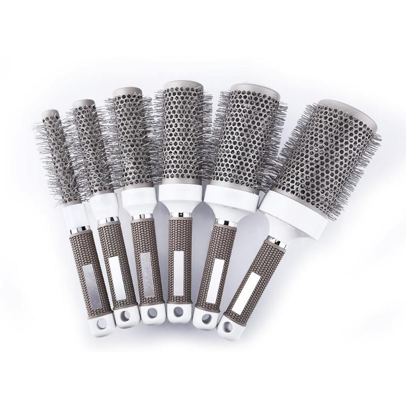 Profissional escova de vestir de cabelo resistente a alta temperatura cerâmica ferro redondo pente barbeiro cabeleireiro estilo escovas ferramentas