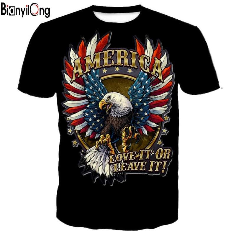 2019 summer new personalized short-sleeved T-shirt eagle Indian T-shirt men's American fashion shirt T-shirt