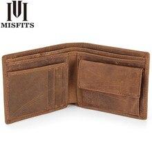 MISFITS NEW Genuine Leather Mens Wallets Crazy Horse Leather Men Wallet Coin Pocket and Card Holder