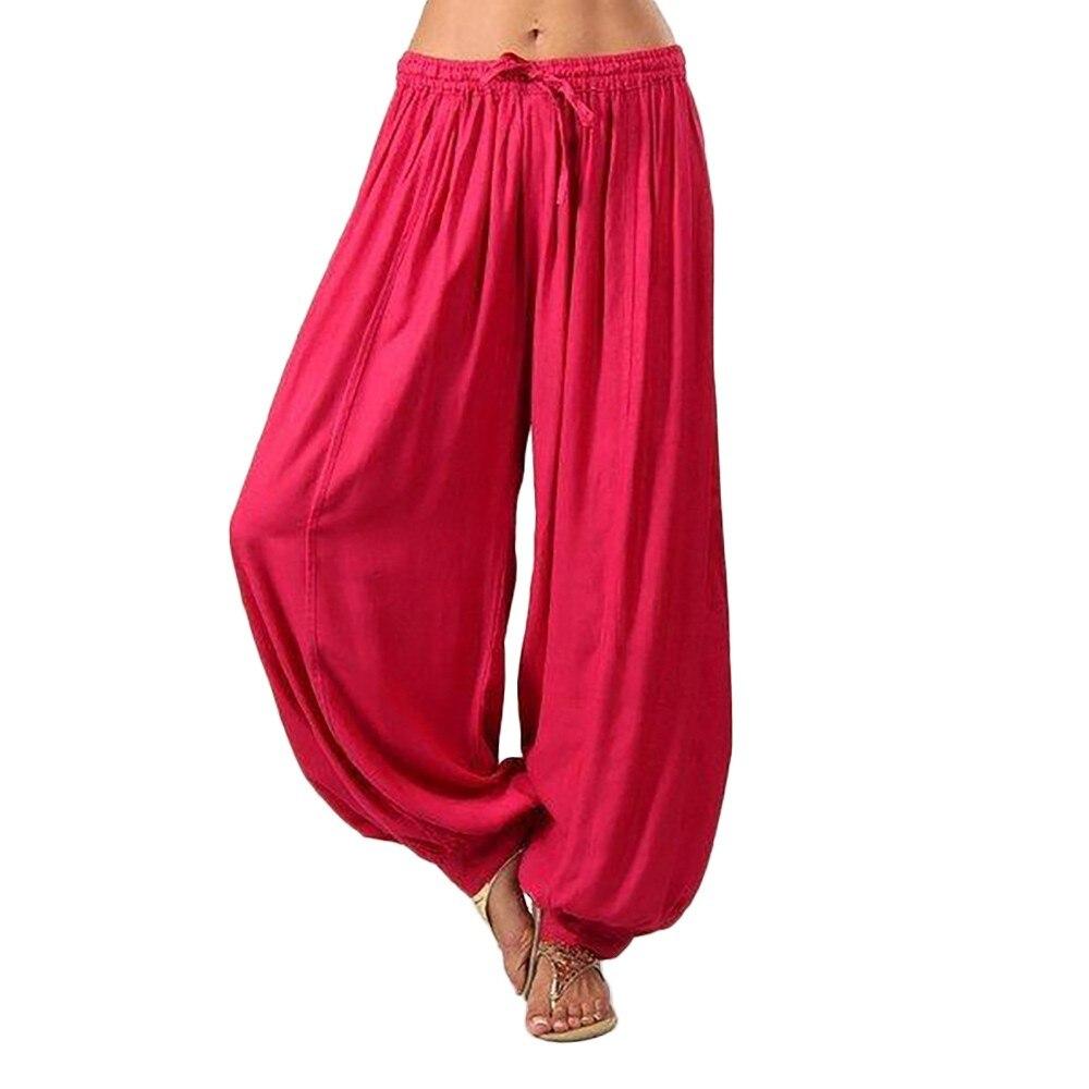 Pantalones bombachos holgados para mujer, pantalones cómodos de playa holgados de harem,...