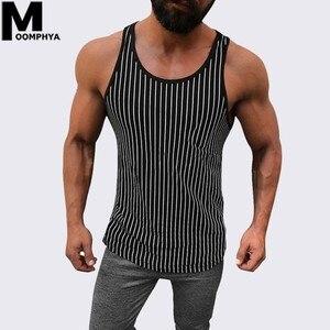 Moomphya 2019 New Vertical Stripes sleeveless men tank top vest Bodybuilding gym clothing Summer vest men