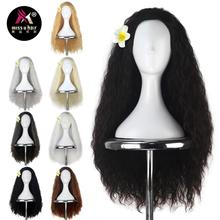 Perruque de déguisement Cosplay Moana noire-Miss U Hair   Perruque bouclée et crépue, brune foncée, avec fleur, pour femme, film dhalloween, pour fille et adulte