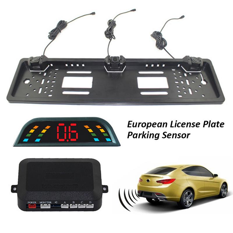 Caméra dimmatriculation européenne   Kit de capteurs de stationnement de voiture et Radar de marche arrière de voiture avec écran numérique LCD