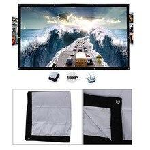 Tragbare HD 1080P Weiche Projektor Bildschirm Matt Weiß 43 Projektor Bildschirm Film Tuch 60 72 84 100 120 150 zoll Für Heimkino