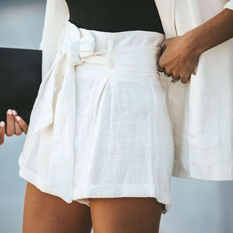 Novedad en pantalones cortos a rayas para mujer, pantalones cortos lisos informales de tiro alto para verano, para deporte en la playa, novedad 2019