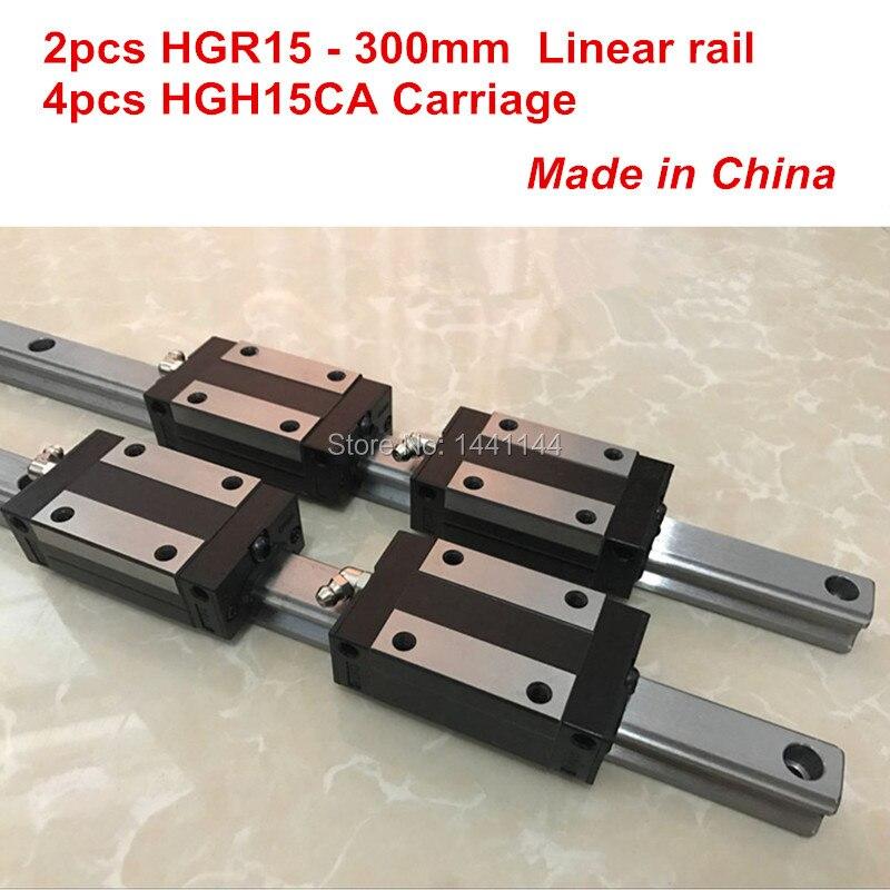 HGR15 الخطي دليل السكك الحديدية: 2 قطعة HGR15-300 مللي متر + 4 قطعة HGH15CA الخطية كتلة النقل CNC أجزاء