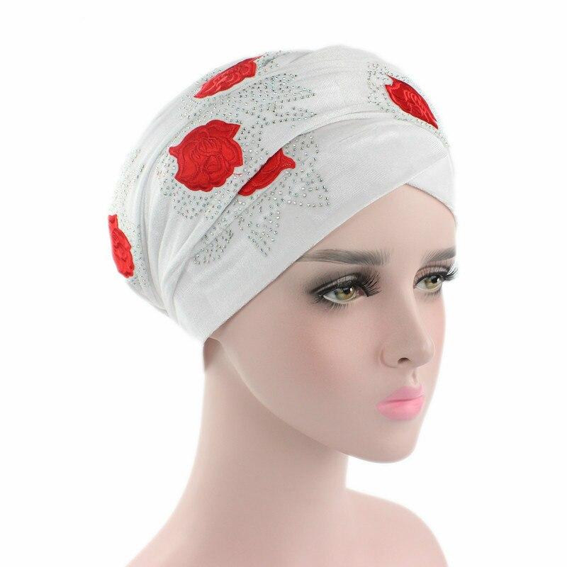 Extra Longo de Veludo Turbante Cabeça Wraps Lenço de Cabeça Hijab Turbante Mulheres Velvet Turban Headband Rose Red Diamante de Luxo