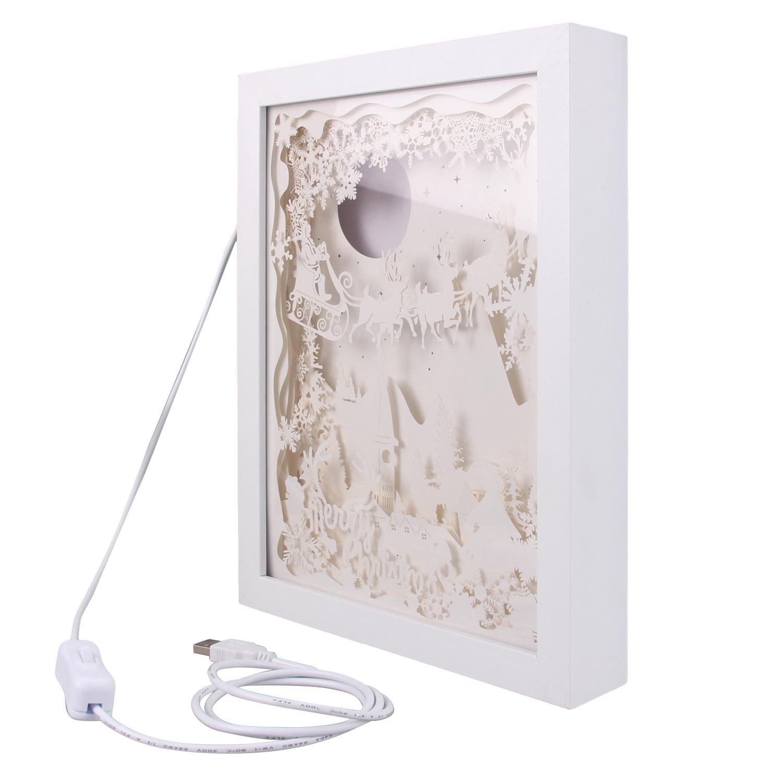 3d-лампа для теней Merry Рождественская, с резьбой по бумагу, светодиодная Ночная лампа для спальни, кофейни, чайного дома, подарочное украшение