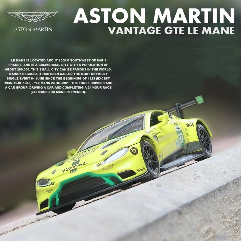 1:32 Aston Martin Diecast Metal Model Vantage GTE Le Mans Sound Light Race Car Pull Back Collection Toys For Children HotWheelin