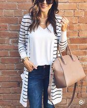 Spring Autumn Fashion Women Long Jackets Stripe Cardigans Casual Female Long Sleeve Loose Outwear Long Jacket Coat Clothes