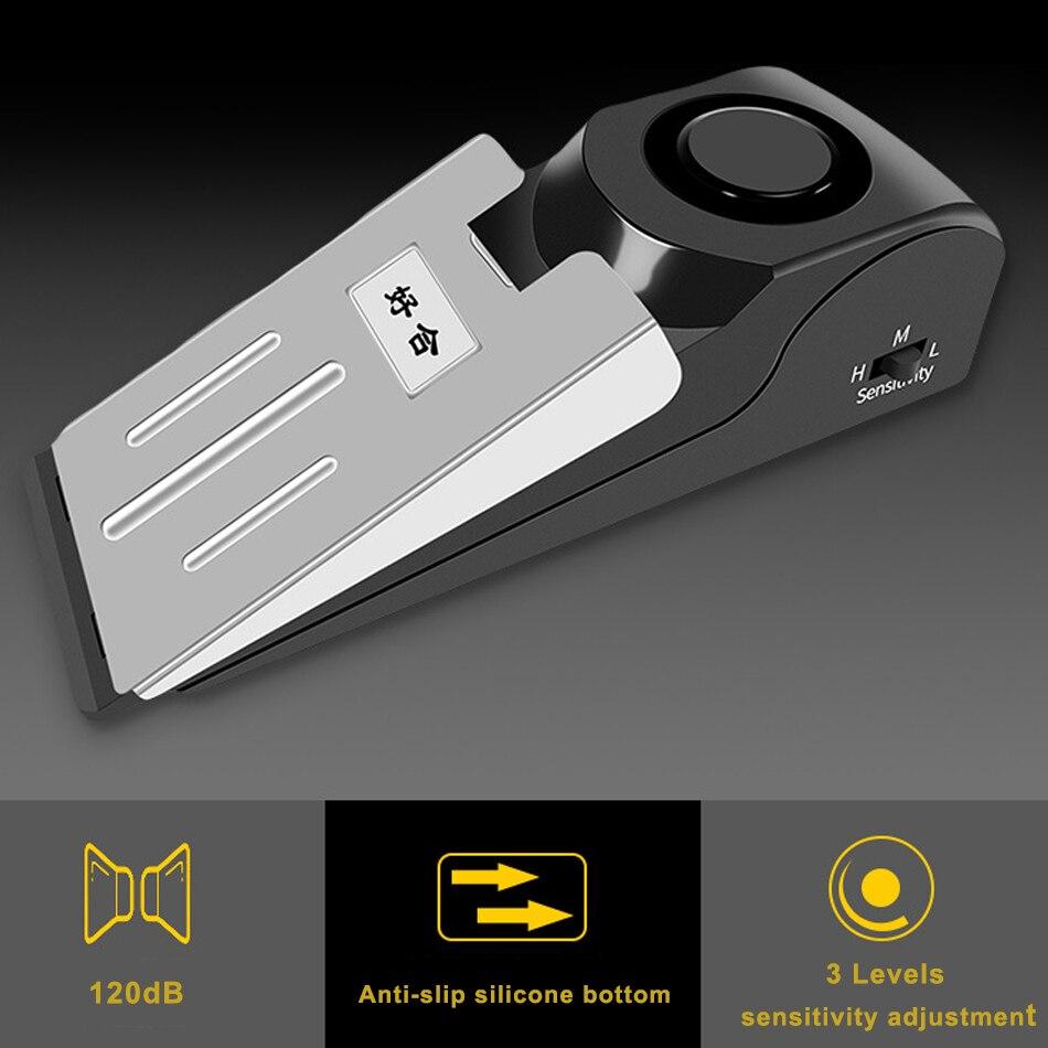 Alarma de exterior Personal portátil para mujer, Sensor inteligente inalámbrico de vibración, Tope de puerta, alarma de bloqueo, sistema de alarma de seguridad
