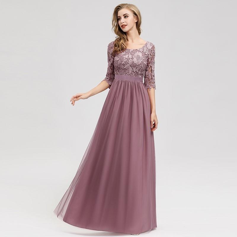 Renda vestidos de dama de honra longo sempre bonito apliques a linha o pescoço oco para fora da luva do vintage feminino chiffon casamento convidados vestidos