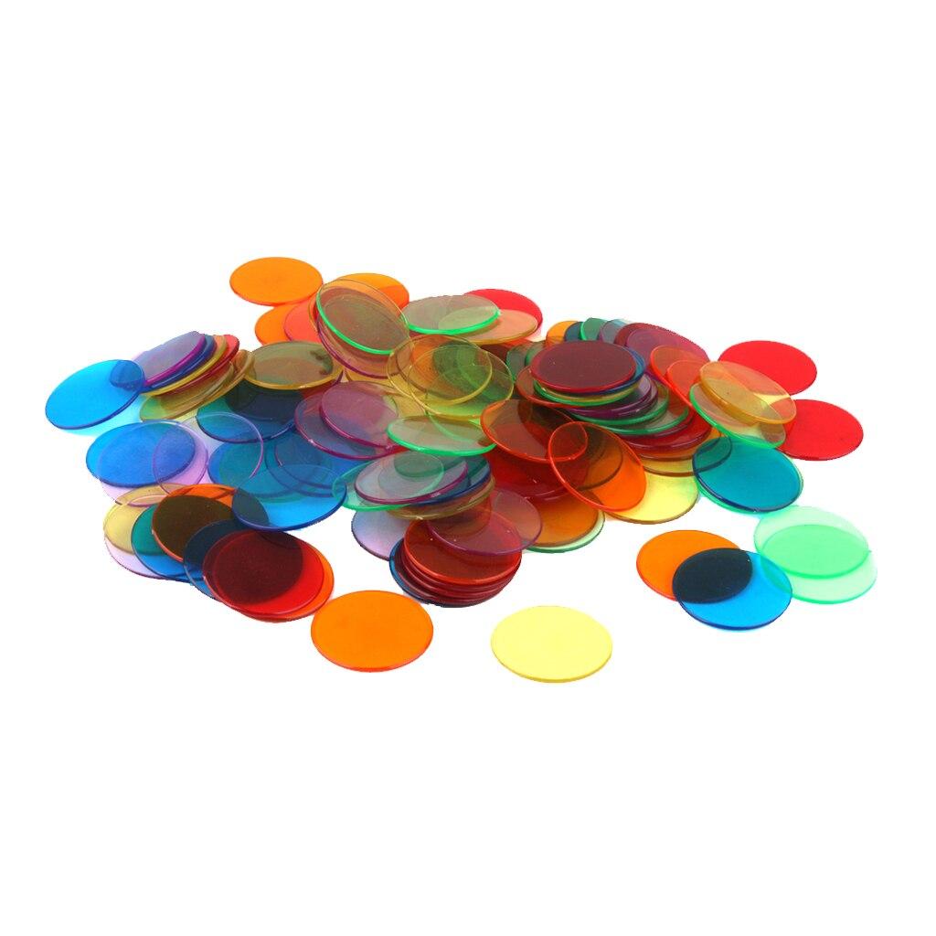 120x3 cm puces de Bingo en plastique transparent 1 3/16 pour les jeux de Bingo de carnaval en classe