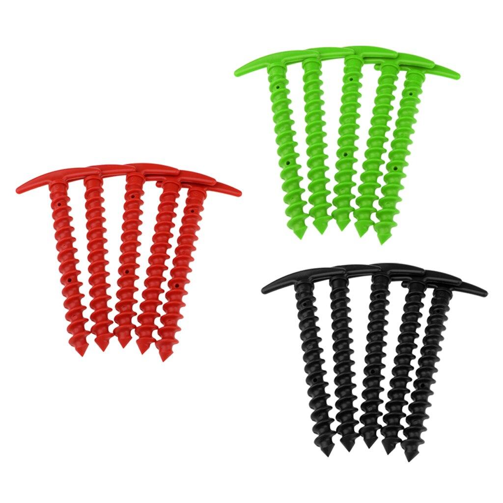 Estacas de plástico de 5 uds estacas para tienda pequeñas de lona picos para arena césped playa mantas compacto ligero carpa clavijas