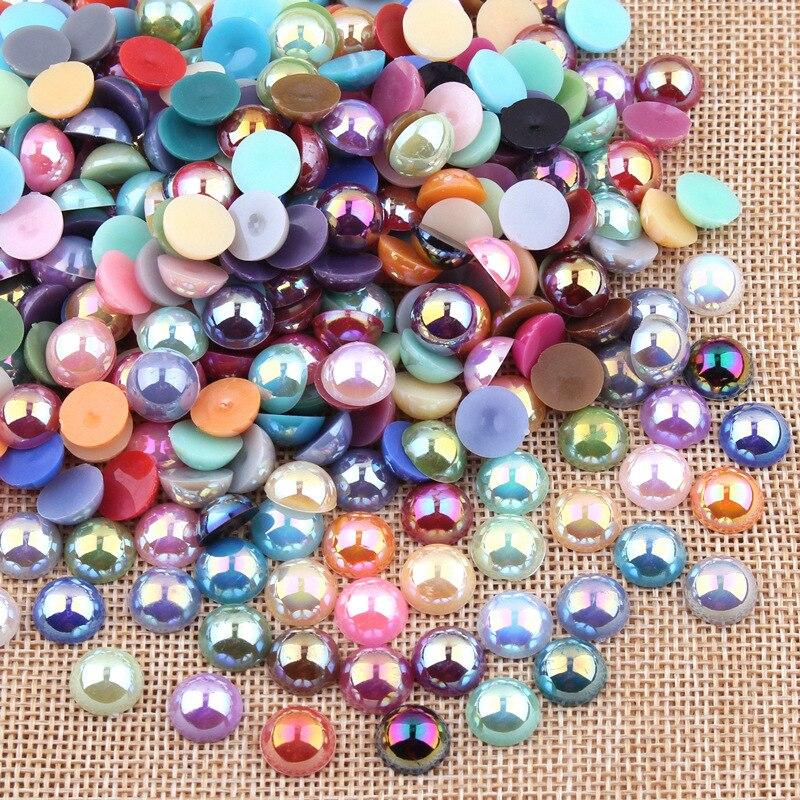 LIEBE ENGEL 100 unids/lote, cabujones de cúpula de resina ABS, Perla de imitación, cubierta trasera plana redonda de 10mm, hallazgos para fabricación de joyas hechas a mano