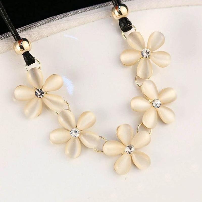 LNRRABC New Fashion Women Elegant Sweet Chic Bohemian Style Crystal Flower Choker Chain Necklace Jewelry Gift
