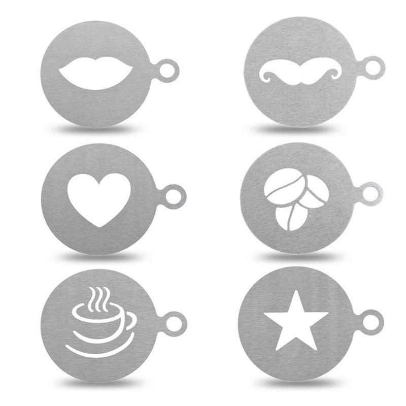 Plantilla de plástico para pastel de café, decoración de cupcakes, plantilla de molde para capuchino realista, plantilla de café, café, herramientas de cocina moldes