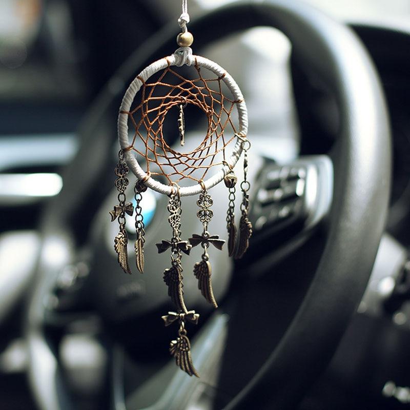 Ретро Ловец снов безопасное дерево автомобиль Висячие украшения для дома украшение интерьера перо ремесла бронзовая подвеска подарки украшение автомобиля