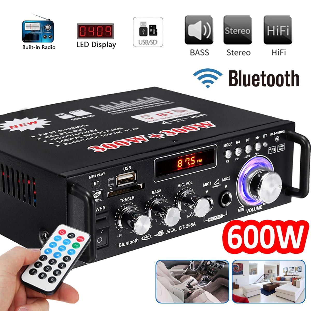 12V/220V 600W HIFI para coche Amplificador de Audio estéreo de bluetooth FM...