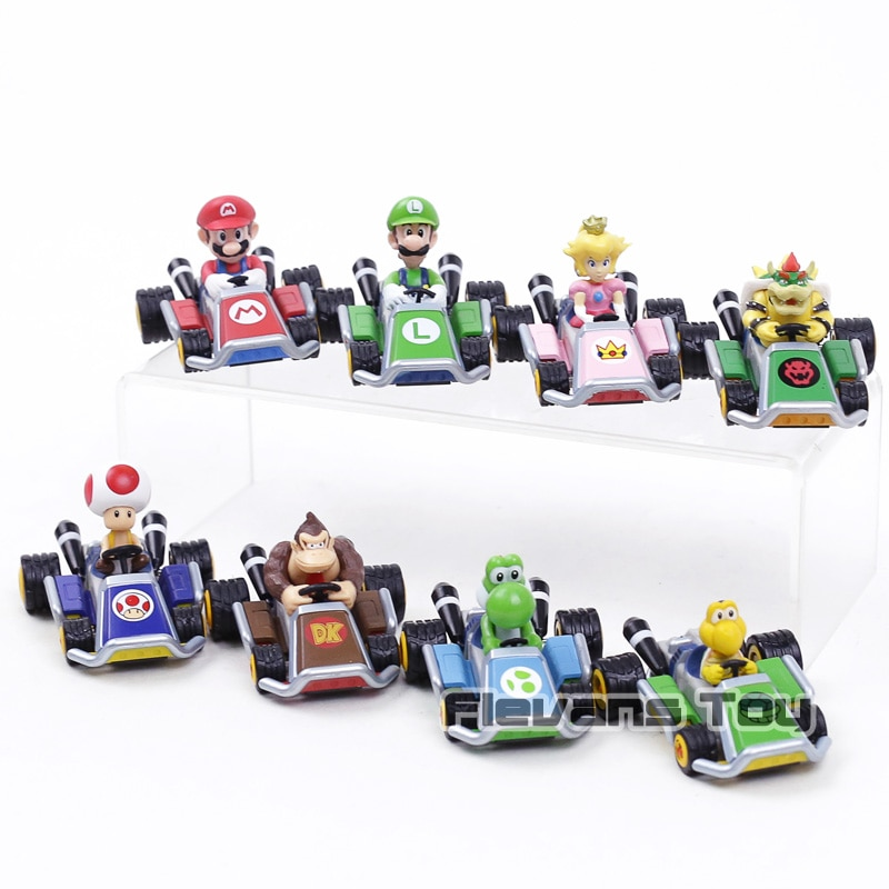 Super Mario Kart coche extraíble Luigi Bowser Koopa Donkey Kong Princesa Peach seta de sapo coches figura juguetes para niños 8 unids/set