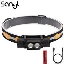 SANYI 2 * XML-L2 phare puissance par 18650 batterie 6 Modes 3800LM lampe de poche front USB charge Camping chasse phare