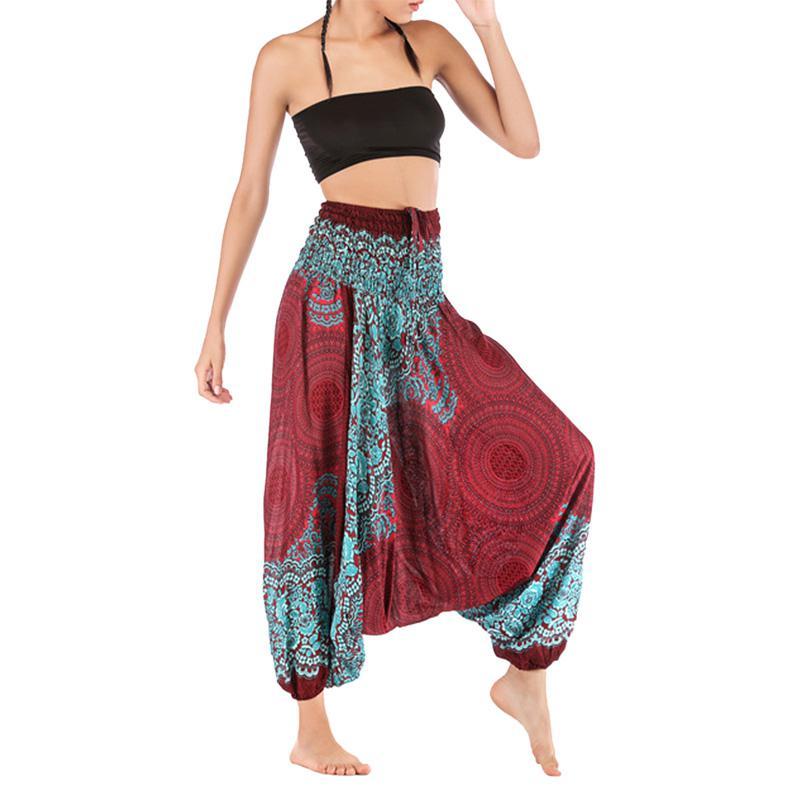 Pantalones de verano otoño para mujer, pantalones holgados Boho Aladdín Harem, pantalones de ocio para mujer, pantalones bohemios sueltos de cintura alta