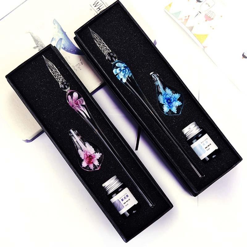 Красивая стеклянная ручка ручной работы с цветочным узором, авторучка, подарочный набор, изысканные канцелярские принадлежности