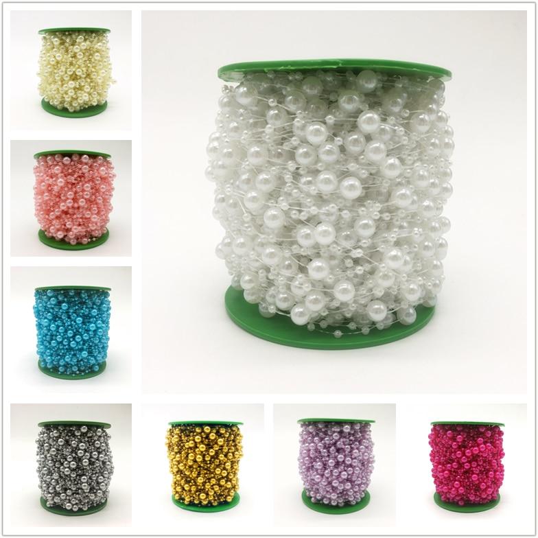(13 colores) 5 yardas hilo de pescar perlas artificiales perlas cadena guirnalda para flores boda fiesta DIY decoración novias sombrero