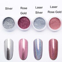 Laser Rose Gold Mirror Nail Glitter Chrome Nail Powder Holographic Silver Dust Pigment Powder Nail Art Decorations SF3063