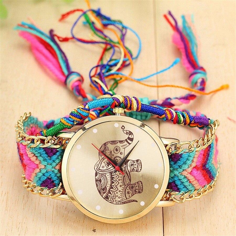 Dropshipping moda mujeres hechas a mano elefante trenzado amistad reloj de lujo señoras cuerda relojes de cuarzo Relogio Feminino caliente