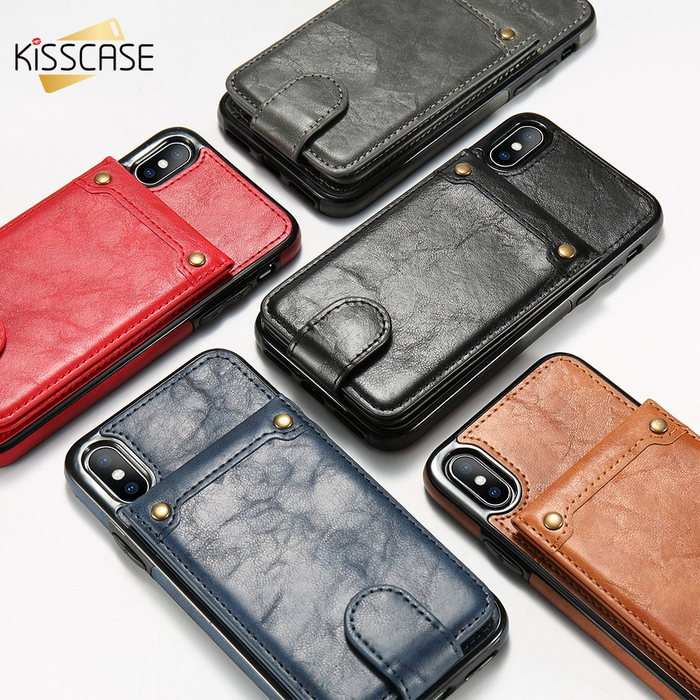 KISSCASE PU Funda de cuero para iPhone X XS 7 8 Plus Cartera de bolsillo de tarjeta para iPhone 6 6 S 7 8 Plus X cubierta trasera de la nebulosa Capa