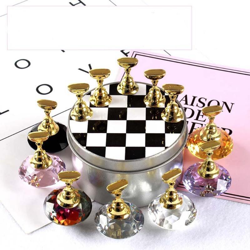 1 Set Nail Art Tips Practice Stand Crystal Rhinestone Fake Nail Tips Holder Chess Board Design Tools for Nail Art Equipment