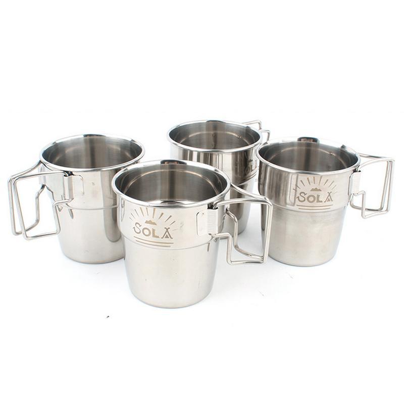 Conjunto de 4 piezas portátil al aire libre taza plegable de acero inoxidable con asa Picnic barbacoa cerveza taza para escalada
