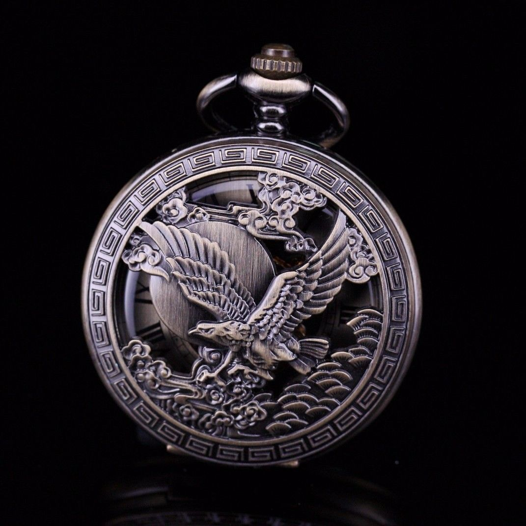 Medio cazador tono bronce águila esqueleto Steampunk número romano mano viento reloj De bolsillo para hombres W/Cadena De reloj De bolso