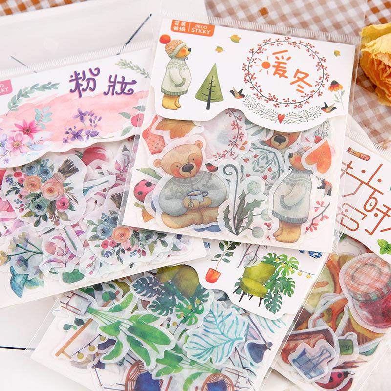 40 unids/pack Kawaii pegatinas estrelladas planta pegatinas adhesivas lindo papelería pegatinas conjunto para niños Scrapbooking diario álbumes de fotos