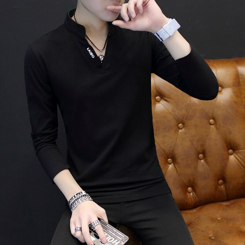 2019 High Quality Brand Mens Polo Shirt Slim Fit Solid Polo Shirts Long Sleeve Stand Collar Shirt Camisa Polo Grande 5XL