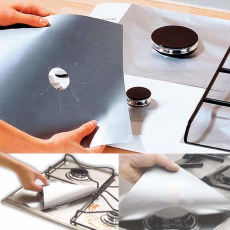 4 unids/lote de papel antiadherente de aluminio para barbacoa, almohadilla de papel para barbacoa, Protector de cocina, cubierta para limpiar utensilios de cocina, utensilios de cocina