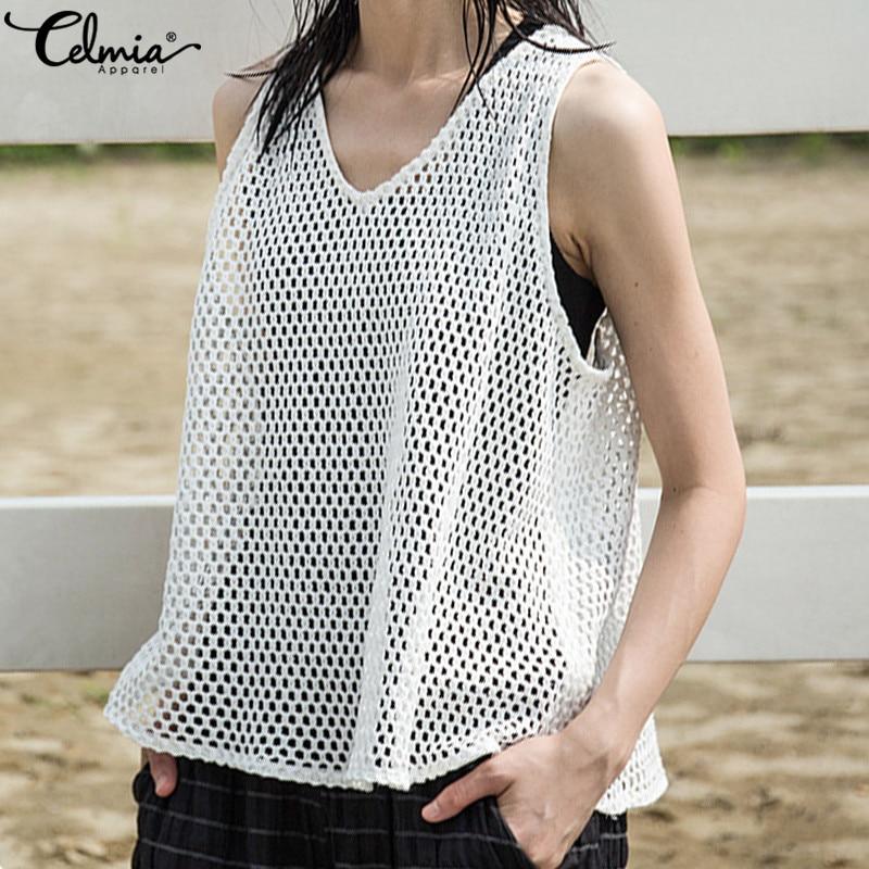 Celmia 2020, blusa de verano para mujer, de malla transparente, ahuecada, Sexy, sin mangas, Tops transparentes, Casual, Camiseta holgada de red de pescado, 5XL