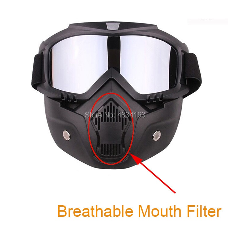 Detachable Goggles Motorcycle Helmet Mask Outdoor Riding Motocross Mouth Filter Open Face Half Helmet Vintage Glasses Windproof
