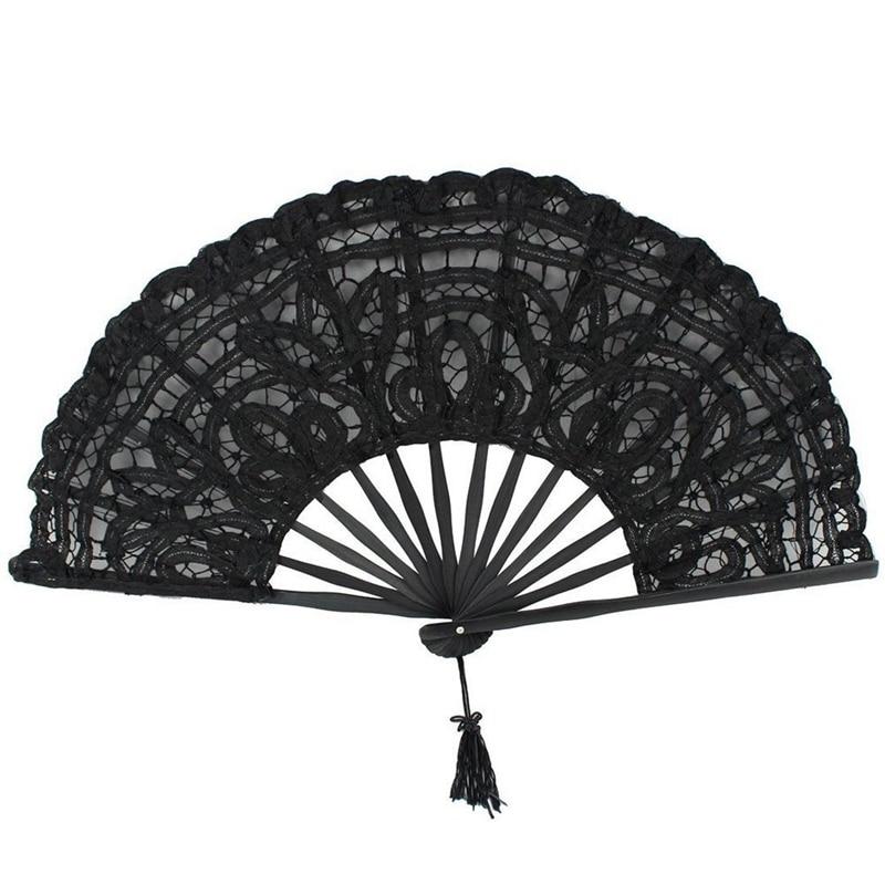 Ventilador de mão dobrável feita à mão de algodão, para decoração de noiva, casamento (preto)