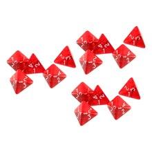 Pack 15 gemme multi-côtés dés polyèdre jeu de dés D4 D & D TRPG jeu rouge jeu de dés pour jeu de coupe coloré acrylique dés