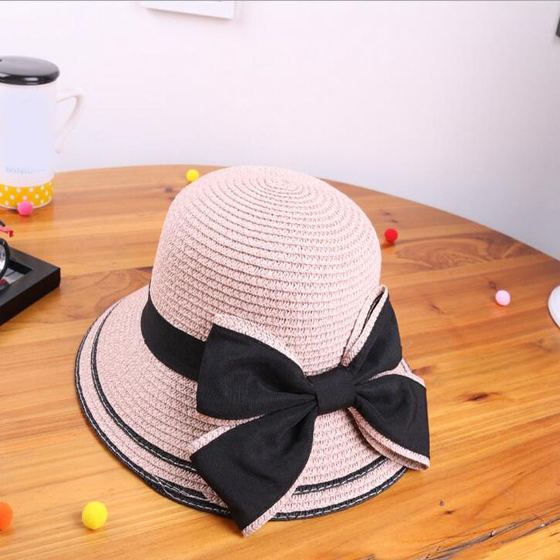 2019 New Korean Spring summer Ribbon Bow Hat Parent-child Straw Baby Girls Beach Hats women Sun