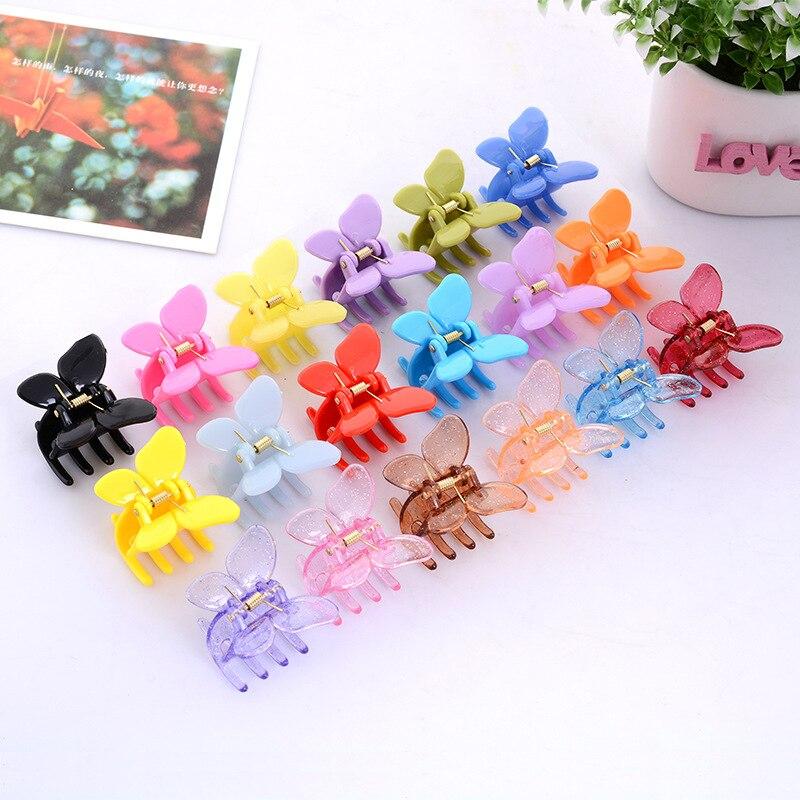 12 uds/lote moda mujer mariposa de pinza para el pelo de las niñas de plástico horquilla de garra Clip de pelo pinza para las mujeres