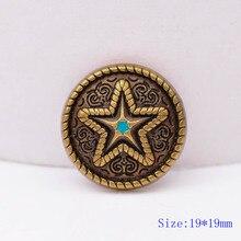 6X 19mm laiton massif Western gravé Ranger étoile selles bride ceinture Conchos