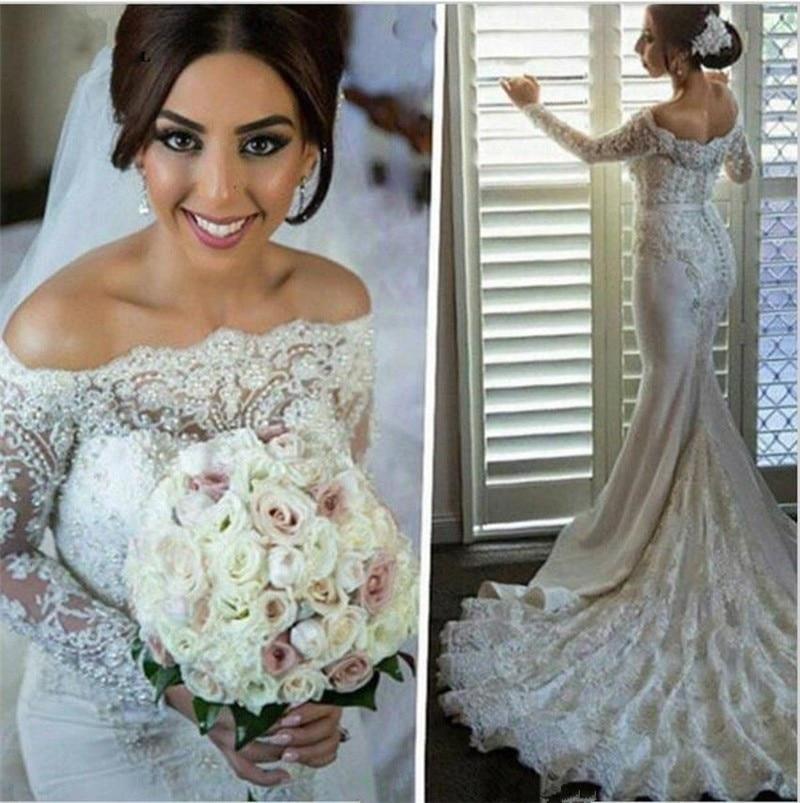 vestidos de noiva New Fashion Boat Neck Wedding Dresses Mermaid Long Sleeve Appliques Beaded Wedding Bridal Gown