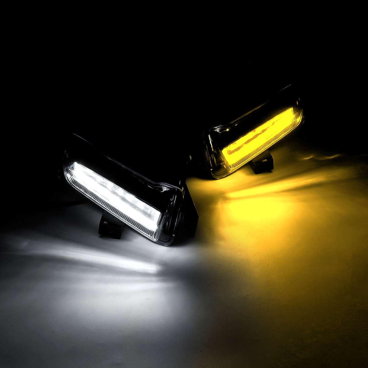Un par de luces LED de circulación diurna de ámbar doble/blanca individual para Chevy Camaro ZL1 1 1lt RS 16 + DRL blanco niebla + ámbar